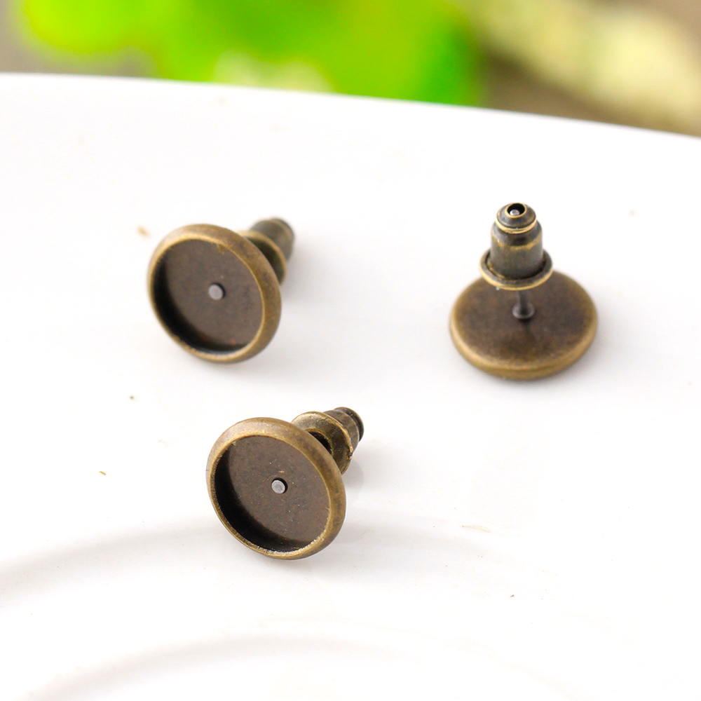 50pcs 8mm Copper Brass Antique Bronze French Ear Studs Earring Base Earring  Findings Cabochon Setting Accessories