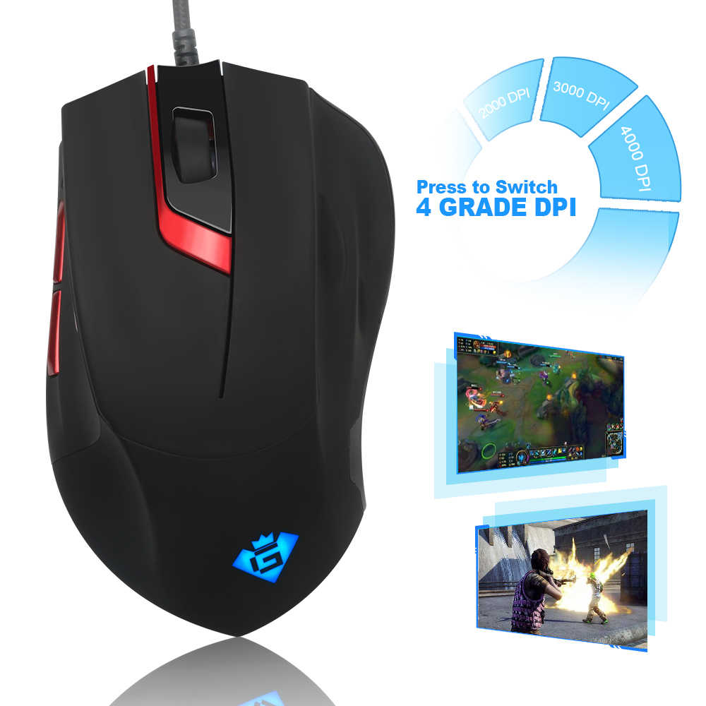 Rocketek USB wired Gaming Mouse 3200 DPI 7 buttons optical programmable game mice with backlight ergonomic for laptop computer