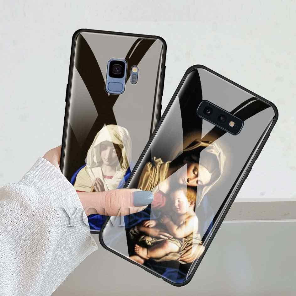 Чехол для телефона из закаленного стекла для samsung Galaxy A50 A30 S10e S9 S8 S10 Plus Note 9 10 чехол для телефона Cas Ретро арт Статуя Дева Мария