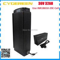 Batterie au lithium 1000W 36 V 32AH support arrière 36 volts batterie de vélo électrique noir utilisation 29E 2900mah cellule 30A BMS avec chargeur 5A