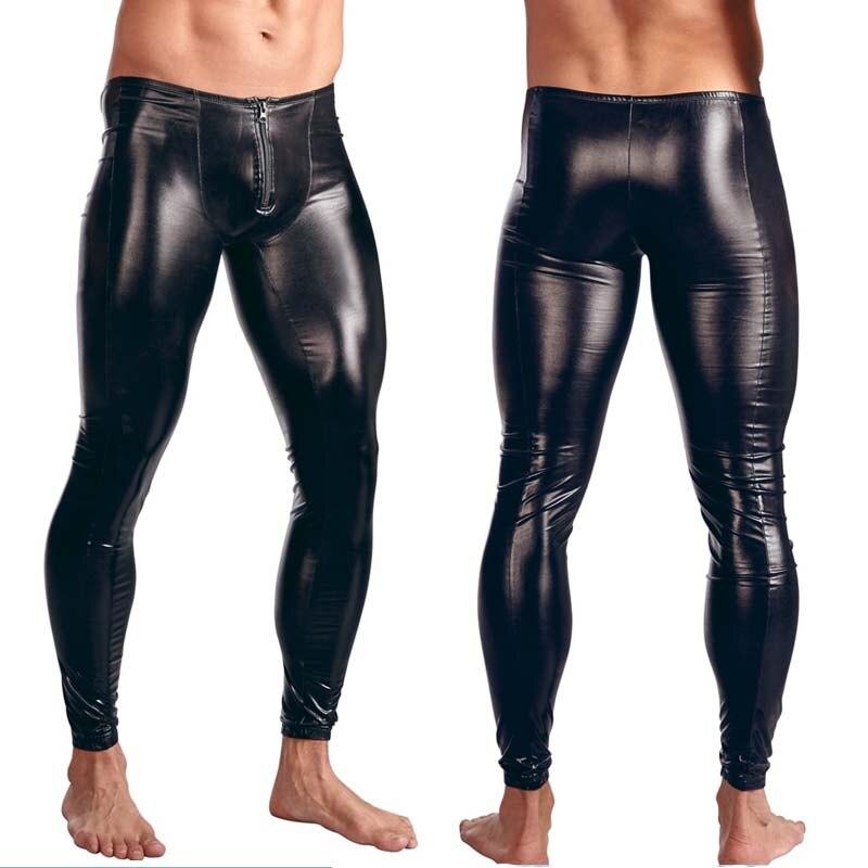 Hot Sexy Men PVC Stage Dance Wear Fetish Faux Leather Pencil Pants Bondage Skinny Pants Legging Gay Club Dance Wear Erotic