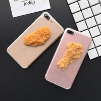 New 3D DIY Kuso Cool Simulation Food Model Chicken Nugget Leg Fish Egg Tart Case For