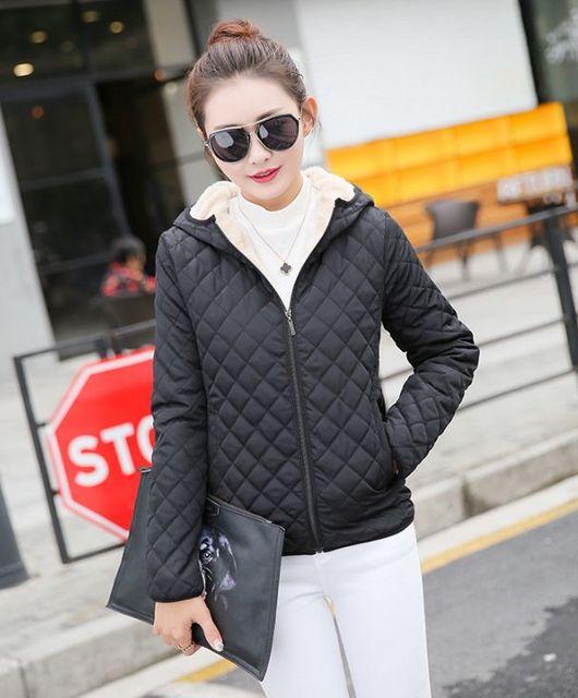 2018 Autumn New Parkas basic jackets Female Women Winter plus velvet lamb hooded Coats Cotton Winter Jacket Womens Outwear coat