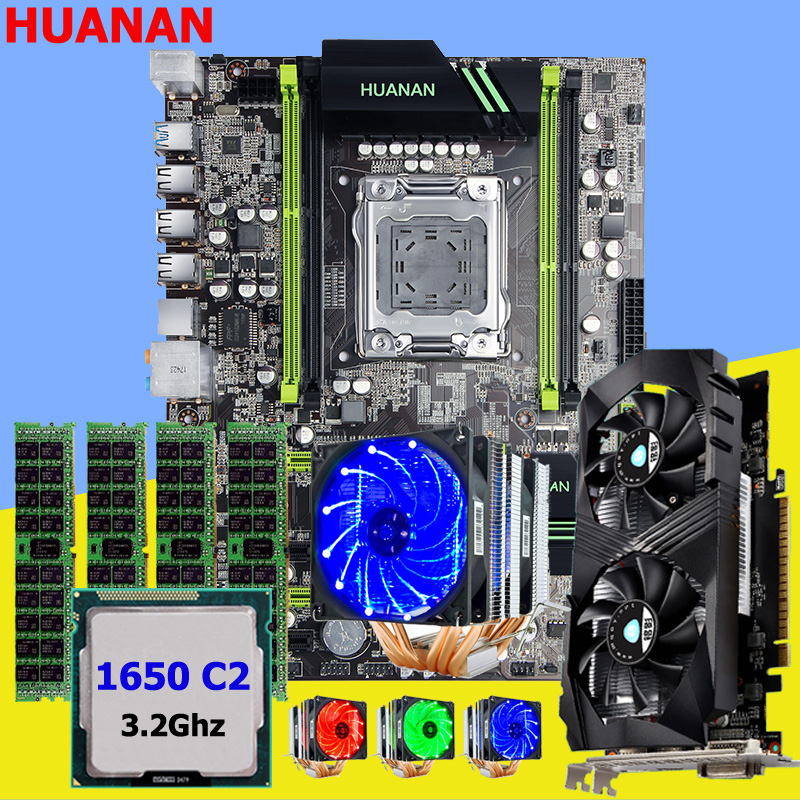 HUANAN ZHI X79 motherboard with M.2 slot video card GTX1050Ti 4G CPU Xeon E5 1650 C2 3.2GHz with 6 heatpipes cooler RAM 16G RECC цена
