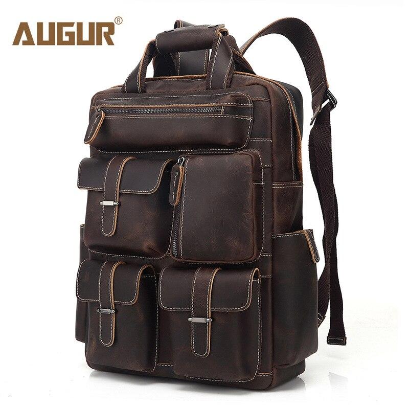 AUGUR grande capacité hommes sac de voyage sac à dos d'alpinisme à la main en cuir véritable sacs à dos multi-poches sac à bandoulière homme