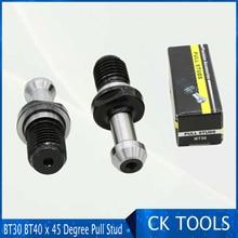 купить BT30 45 Degree M12 Thread Pull Stud retention knob for CNC Milling Tool Holder bt40 machining tools collet chuck lathe по цене 116.82 рублей