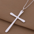 Trendy Silver Jewelry Cross Shape Pendant Necklace For Women Men AN253