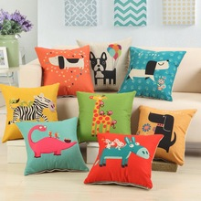 Neon Square Animal Pet Cushion Cover Cotton Dinosaur Pillowcase Linen home decor Puppy Dog Seating Zebra chair pad 45cm 18inch