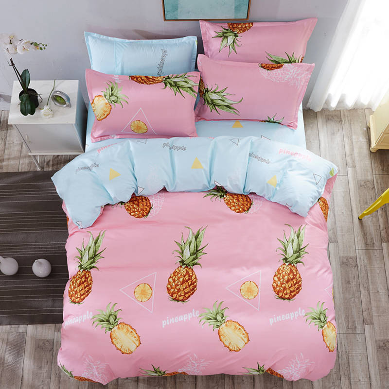 pink frint pineapple design bedding set twin size kids babies girls children bedroom decor print bed cover 3 pieces sweet style