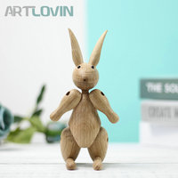 Nordic Denmark Easter Wooden Rabbit Ornament Wood Bear Figurines Home Decoration Mascot Puppet Easter Kids Toys Gift