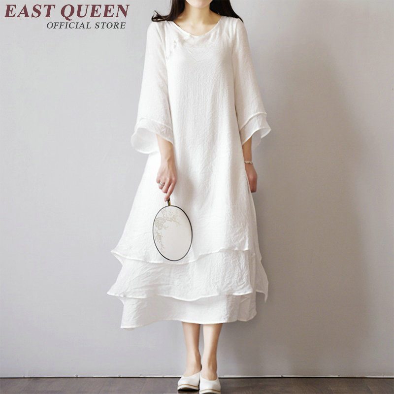 Summer Linen Dress Solid Color O-neck Multi-layer Type Linen Dresses Women Linen Cloth Loose Cotton Long Linen Dresses AA2065 Q