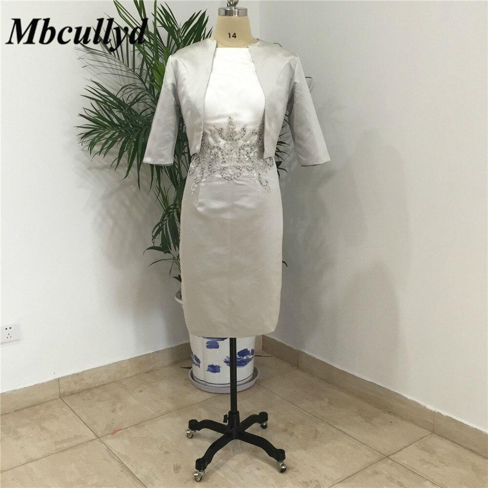 Genou longueur mère de la mariée robes avec vestes 2019 gaine O cou gris clair femmes Applique dentelle mère du marié robe