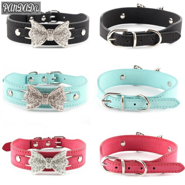 Pet Dog Leather Bow Collar Bling DIY Crystal Rhinestone Customized Cat Necklace Free Name Bucklet XS S M