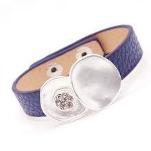 D&D Fashion Punk Crystal Leather Bracelets & Bangles For Women Wristband Charm Cuff