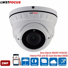 Sony Starvis IMX307+Hi3516C 1080P Real WDR POE SD Card Slot 2MP IP Camera Outdoor Waterproof Dome Surveillance Camera IP ONVIF