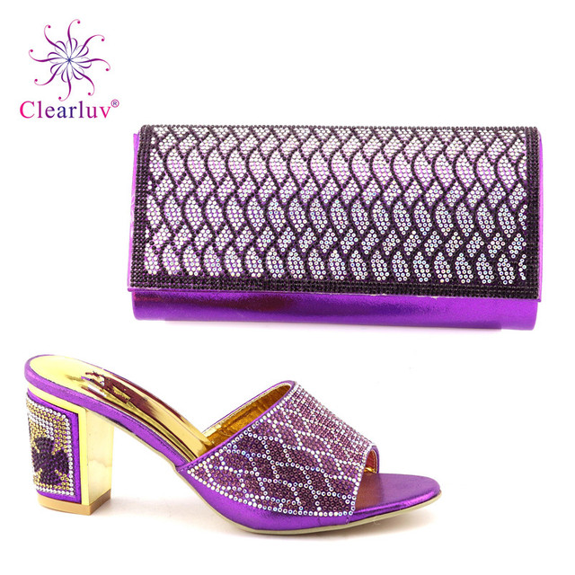 Clearluv Shoes and Bags for African Party Nigerian Women purple Wedding  Shoes and Bag Set Decorated 17110615 bigger size 42 5e8a19c2b391