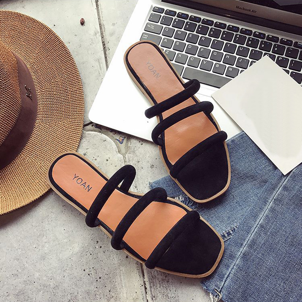 Women Sandals 2018 New Summer Sandals Solid Color Rome Style Flat Heel Sandals Slipper Beach Shoes Sandale Femme Zapatos Mujer brand new women girl sandals summer shoes simple beach shoes flat slides sandals sandale femme hot sale 1 pair