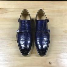 Роскошная Качественная мужская обувь из натуральной крокодиловой кожи; зимняя мужская обувь; цвет темно-синий; смешанные цвета; Мужская обувь из крокодиловой кожи