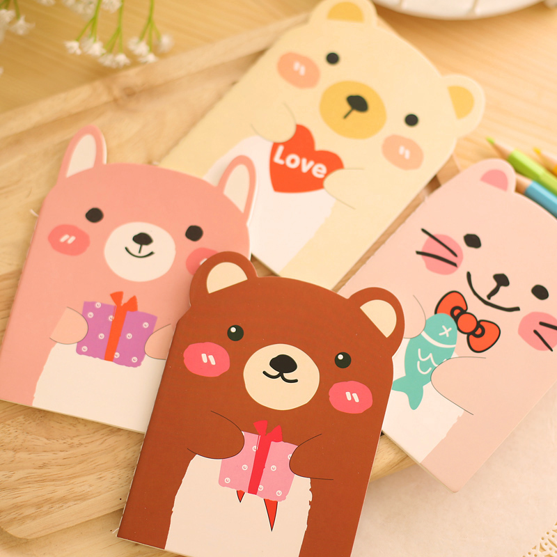 10pcs Mini Portable Notepad Cartoon Bears Memo Note Pad Student Vocabulary Words Recite Notebook School Office Gift Stationery