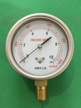 Overpressure Preventive Micro Pressure Gauge YE-75 Diaphragm Box Pressure Gauge Water Column Meter Stainless Steel Shell