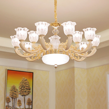 European LED chandelier zinc alloy living room fixtures glass bedroom hanging lights dining room pendant lamps fumat stained glass pendant lamps european style baroque lights for living room bedroom creative art shade led pendant lamp