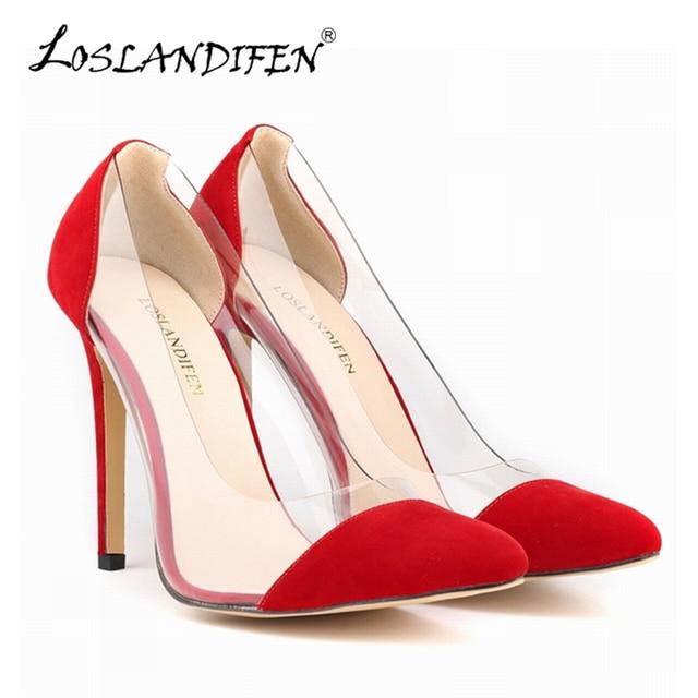 LOSLANDIFEN Flock Thin Heels Women Pumps Sexy Women s Pointed Toe Velvet High  Heels Dress Shoes Woman 781bb7374a6a