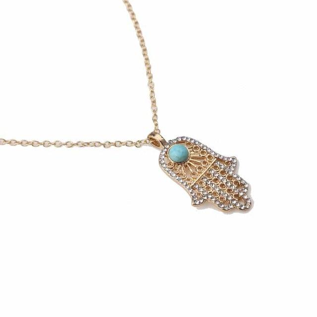 crystal paved hamsa hand natural stone bead evil eye gold necklace