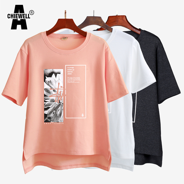 d01bc6e177c2 Achiewell Summer Casual Women T-shirt Round Neck Printed Short Front Long  Back Black