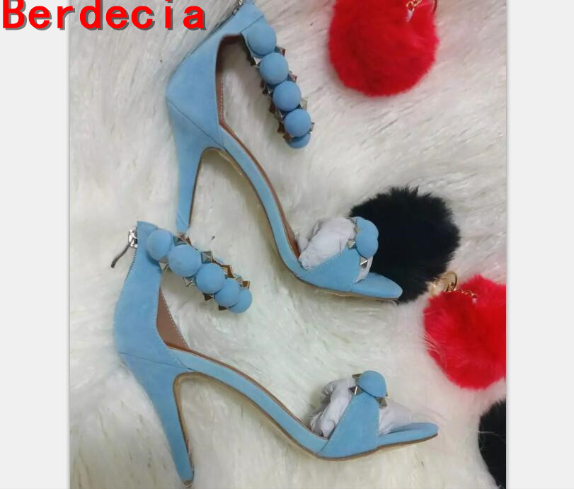 ФОТО new fashion sky blue suede woman shoes sexy open toe rivets studded ankle strap high heel sandal Rome style gladiator sandal