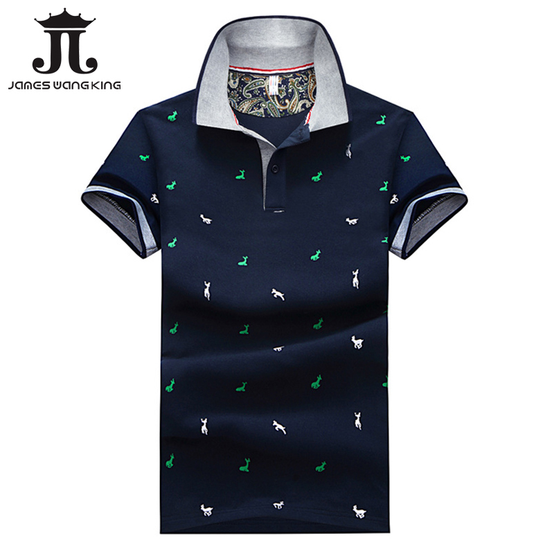 New 2018 Fashion Men   Polo   Shirt Slim Fit Short Sleeve Animal print   Polo   men Summer Clothing breathable male   Polo   Shirts M-4XL