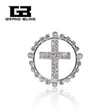 Handmade Cross Brooch Jewelry Bling Rhinestone Brooches Pins