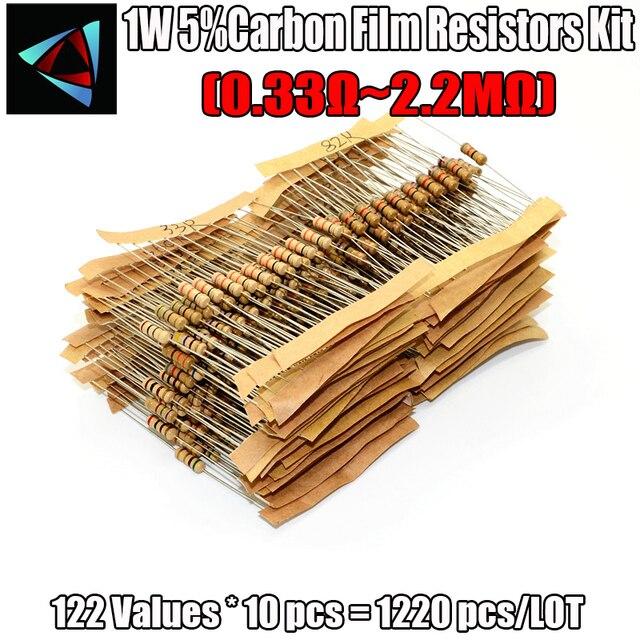 1220 ピース/セット 122 値 0.33R 2.2mohm抵抗キット 1 ワット 5% 炭素皮膜抵抗アソートキット
