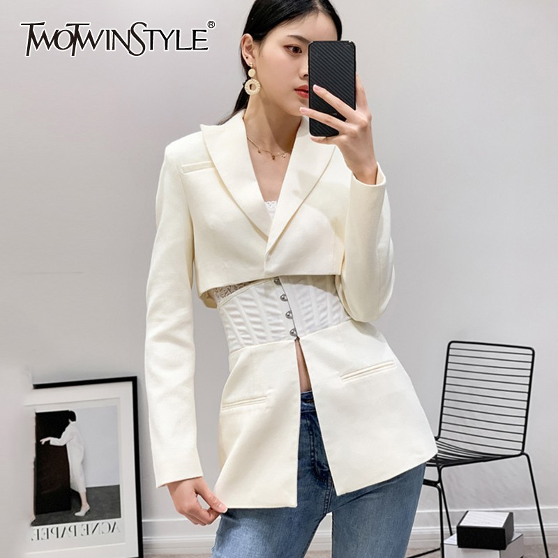 TWOTWINSTYLE OL Long Sleeve Women Blazer Lapel Tunic Patchwork White Suit Female Spring 2020 Fashion Clothes New