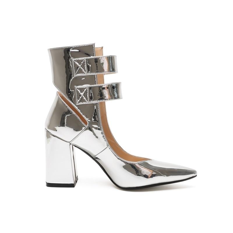 correa Mujeres Zapatos Nueva Sexy Vankaring Mujer Silver Estrecha Altos Fiesta Tacones De Otoño Plata Botines Diseño Marca Punta Tobillo qtIdqwPS