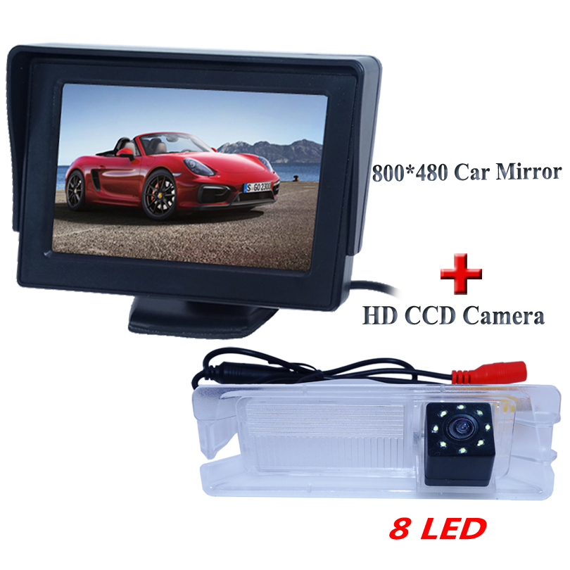 glass lens 8 led 4 3 car monitor with car rearview camera for Nissan March for