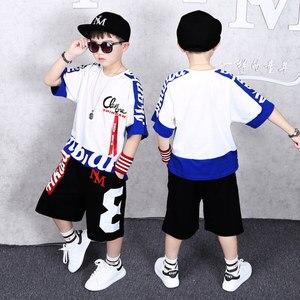 Image 5 - ملابس للأولاد بذلة رياضية للأولاد طقم صيفي 2019 ملابس أطفال مكون من قطعتين بذلة بغرز 4 6 8 10 12 14 16 سنة ملابس أطفال