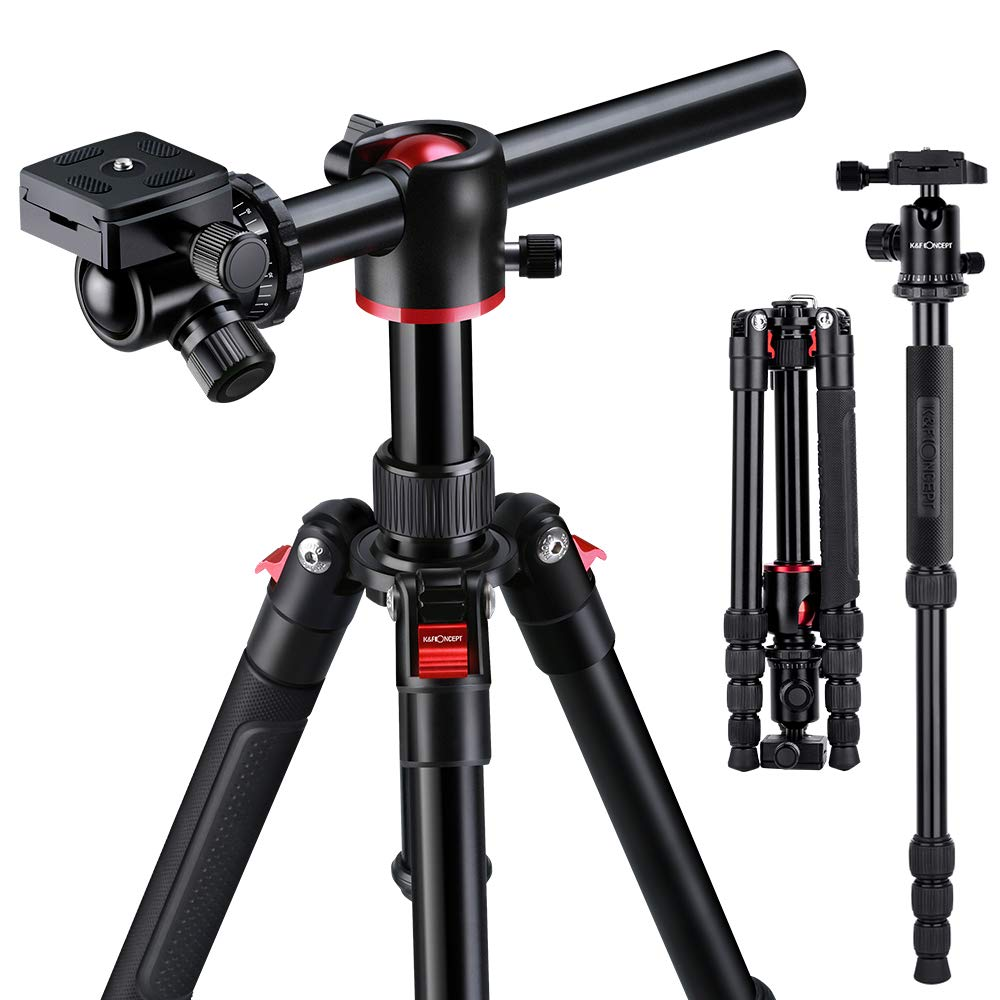 K&F Concept TM2515T Professional 60 inch Camera Tripod Horizontal Aluminium Tripods Portable Monopod with 360 Degree Ball Head Q