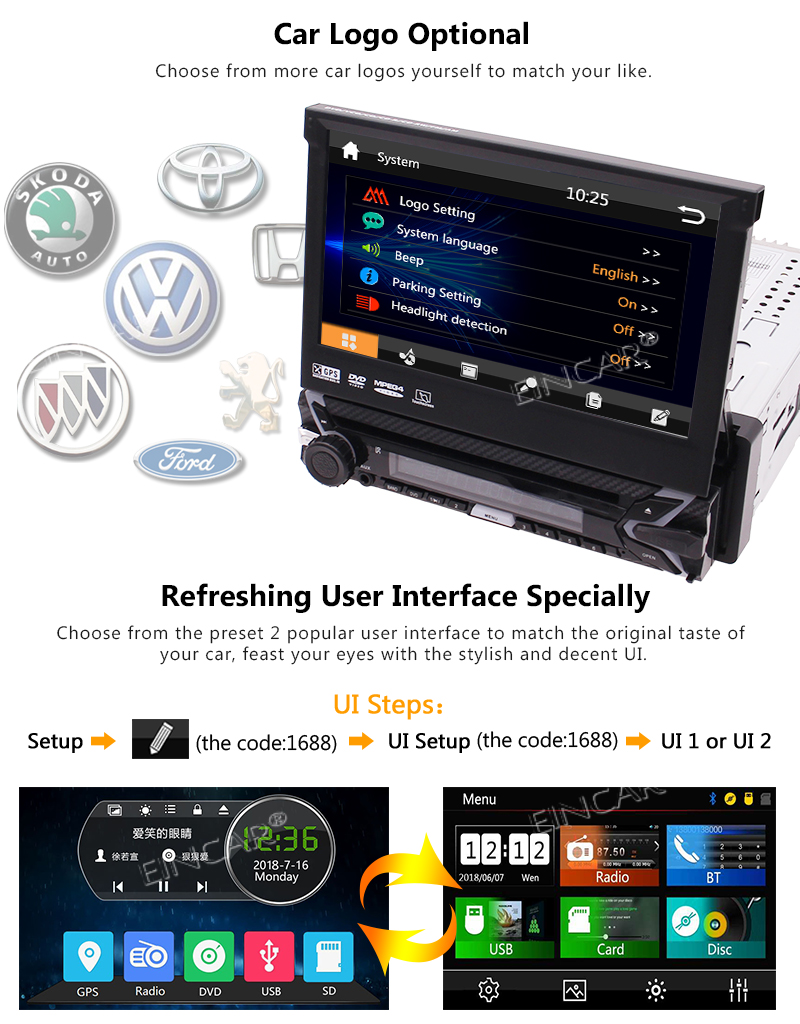 Best Capacitive Touch Screen Wince System Single 1 Din Car Stereo DVD Player Support GPS Navigation/USB/SD/Cam-in/Bluetooth/Steering 4