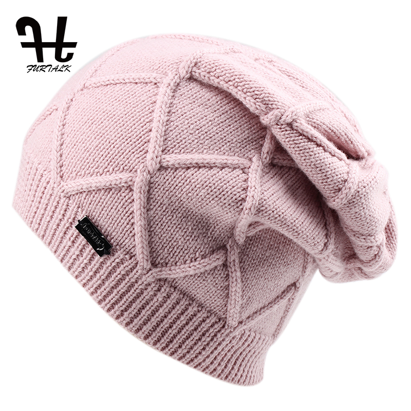 FURTALK Wool Cashmere Autumn Winter Women Hat Knit Skullies Beanies Hats for Girls Female