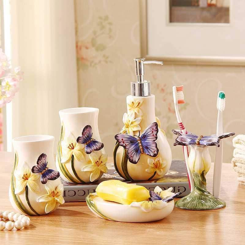 Dental Home Decoration wedding gift bathroom supplies ceramic bathroom set Soap dish Toothbrush tooth brush holder image