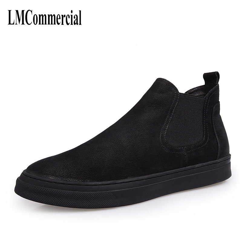 Martin winter male high shoes retro young men warm cotton shoes and casual boots leather cowhide cashmere shoes breathable autumn and winter with warm cashmere leather boots british retro men shoes martin head layer cowhide shoes boots breathable