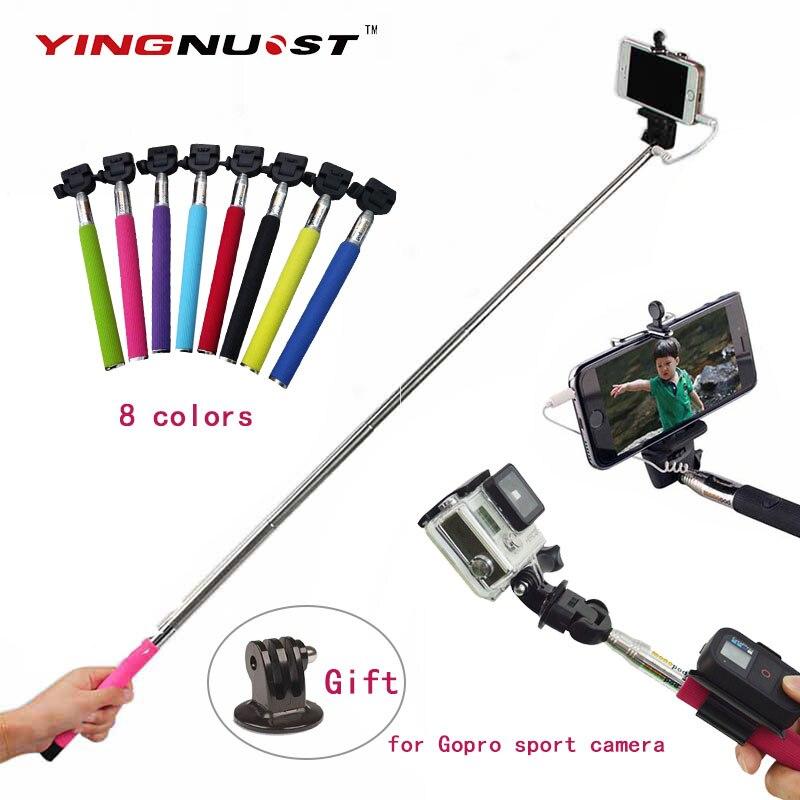 self pole extendable handheld monopod wired palo selfie stick tripod adapte. Black Bedroom Furniture Sets. Home Design Ideas