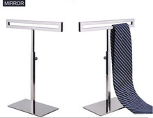 Hot sale high-grade Men's tie display stand stainess steel women's silk scarves holder adjustable necktie wig purse shelf rack hot sell metal tie display rack necktie display stand