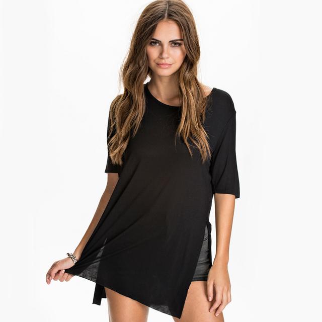 Camiseta Femenina Mulheres Street Style Breve Moda Side Dividir Manga Curta O Pescoço Coringa Longo Básico Top Tee Blusa