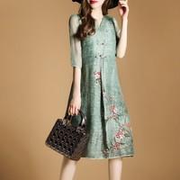 Vintage Loose A Line Dress Ladies Casual Half Sleeved V Neck Summer Beach Boho Dresses 2018