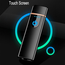 New thin usb charging lighter touch screen electronic cigarette lighters small rechargeable electric lighter windproof men gift(China)