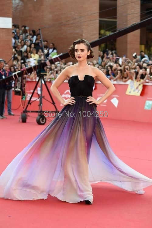 Vestidos Red Carpet New Gradient Ombre Chiffon Prom Dress Evening Dress  Strapless with Pleats Women Dress 01bd7ed5be8d