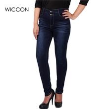 Big plus size women blue & black jeans L-5XL denim pants spring autumn wear full length fashion push up jeans trousers WICCON