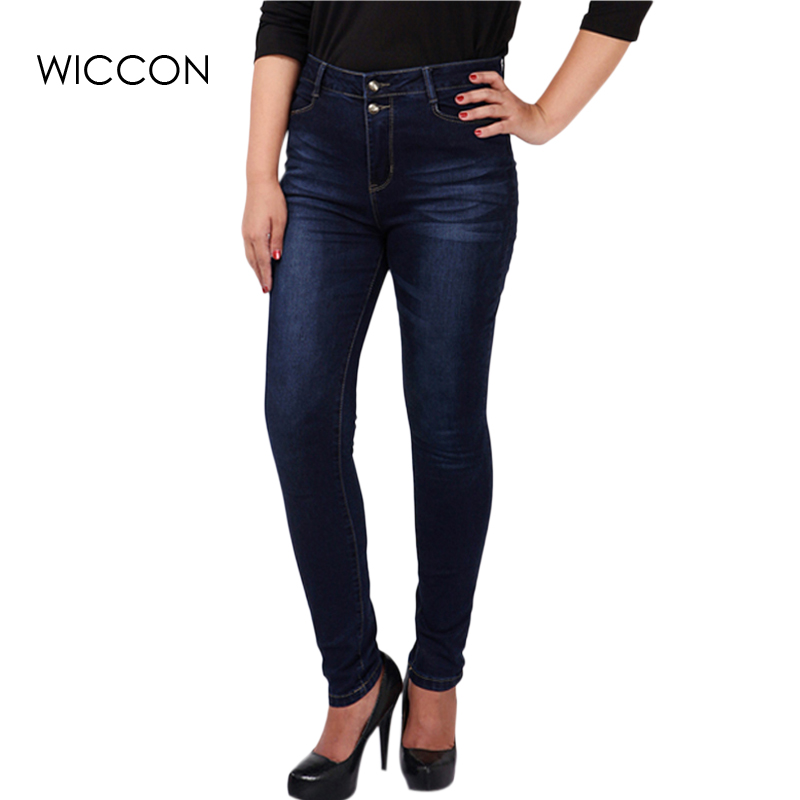 Big plus size women blue & black jeans L-5XL denim pants winter autumn wear full length fashion push up jeans trousers WICCON смартфон highscreen fest xl pro blue