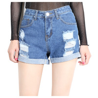 HAPPY WALK Denim Shorts Women Buttoms Classic All Match Fringe Blue Short Jeans Casual 2017 Summer